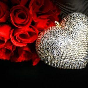 Swarovski Heart Evening Clutch Bag
